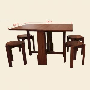 Meja Lipat dan 4 Kursi Stoll Serbaguna Minimalis